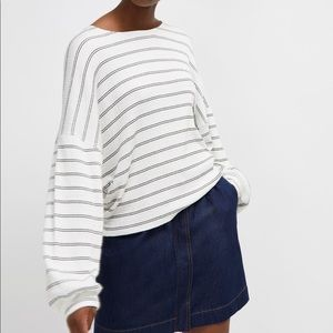French Connection Pearle Stripe Balloon Sleeve Top